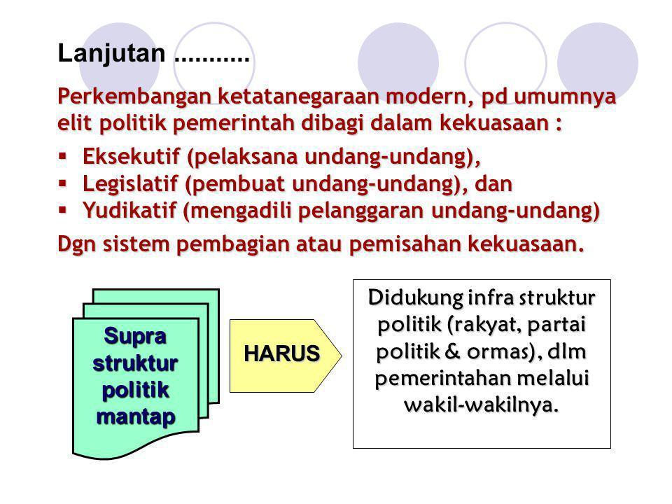 Lanjutan........... Perkembangan ketatanegaraan modern, pd umumnya elit politik pemerintah dibagi dalam kekuasaan :  Eksekutif (pelaksana undang-unda
