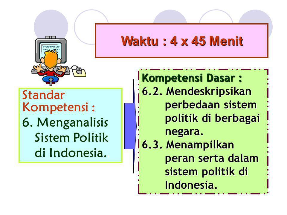 Waktu : 4 x 45 Menit Standar Kompetensi : 6. Menganalisis Sistem Politik di Indonesia.. Kompetensi Dasar : 6.2. Mendeskripsikan perbedaan sistem perbe