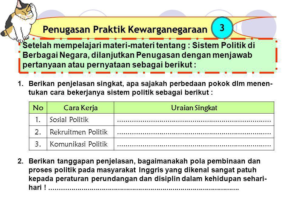 Penugasan Praktik Kewarganegaraan 3 Setelah mempelajari materi-materi tentang : Sistem Politik di Berbagai Negara, dilanjutkan Penugasan dengan menjaw