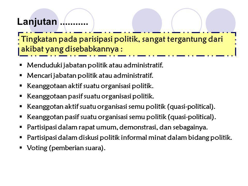 Tingkatan pada parisipasi politik, sangat tergantung dari akibat yang disebabkannya : Lanjutan...........  Menduduki jabatan politik atau administrat