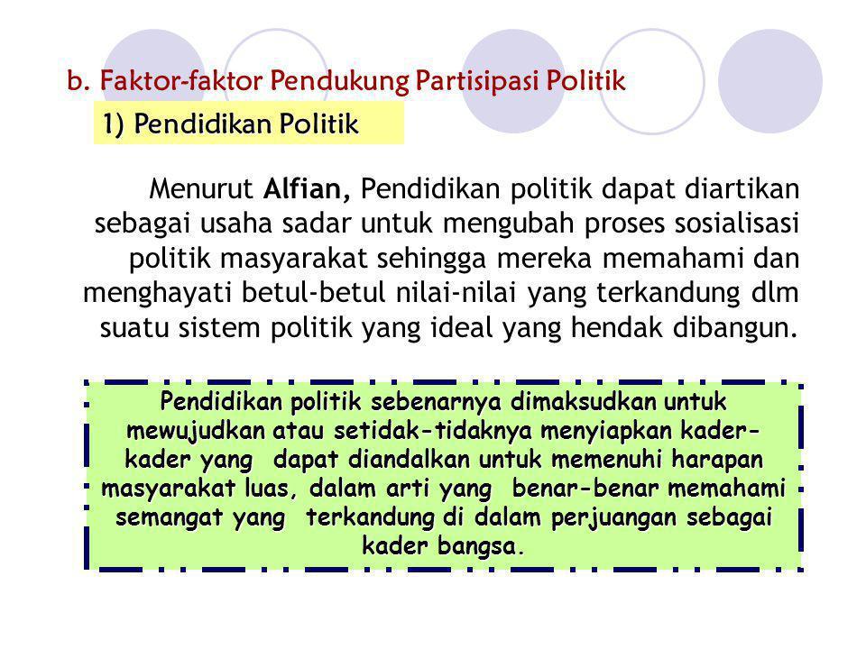 b.Faktor-faktor Pendukung Partisipasi Politik Menurut Alfian, Pendidikan politik dapat diartikan sebagai usaha sadar untuk mengubah proses sosialisasi