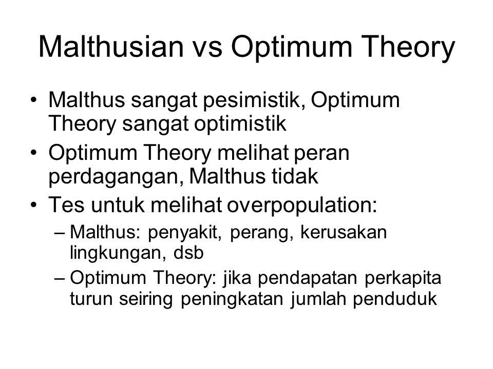 Malthusian vs Optimum Theory Malthus sangat pesimistik, Optimum Theory sangat optimistik Optimum Theory melihat peran perdagangan, Malthus tidak Tes u