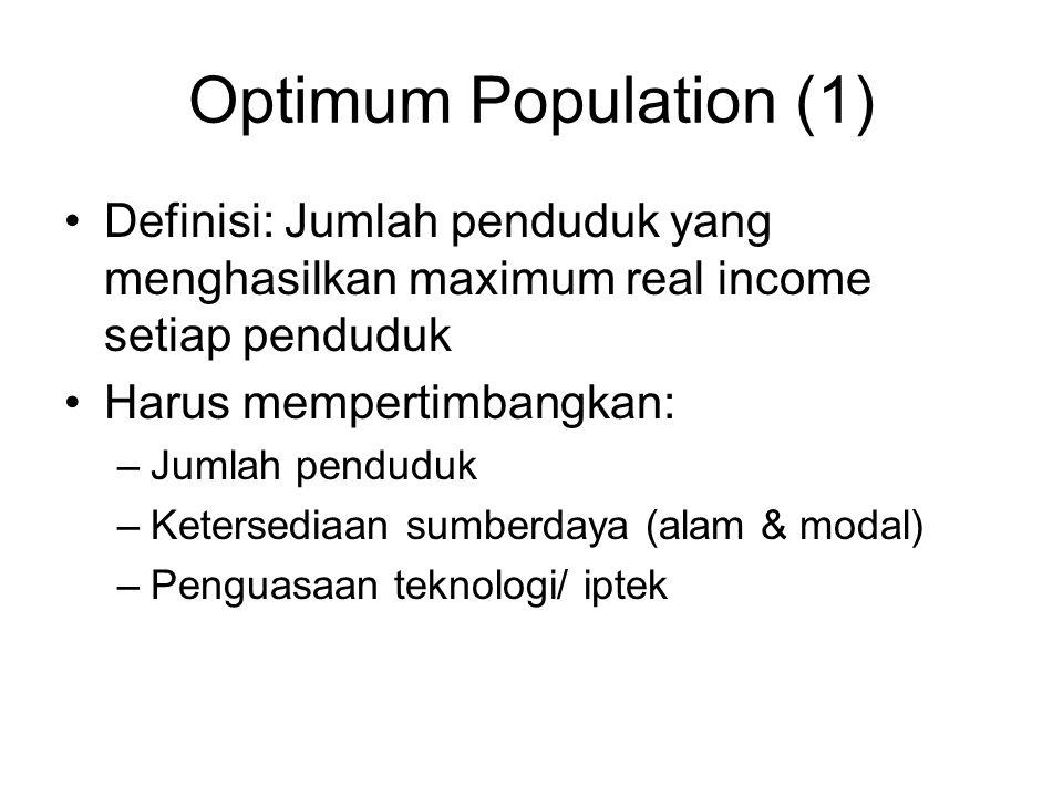 Optimum Population (1) Definisi: Jumlah penduduk yang menghasilkan maximum real income setiap penduduk Harus mempertimbangkan: –Jumlah penduduk –Keter