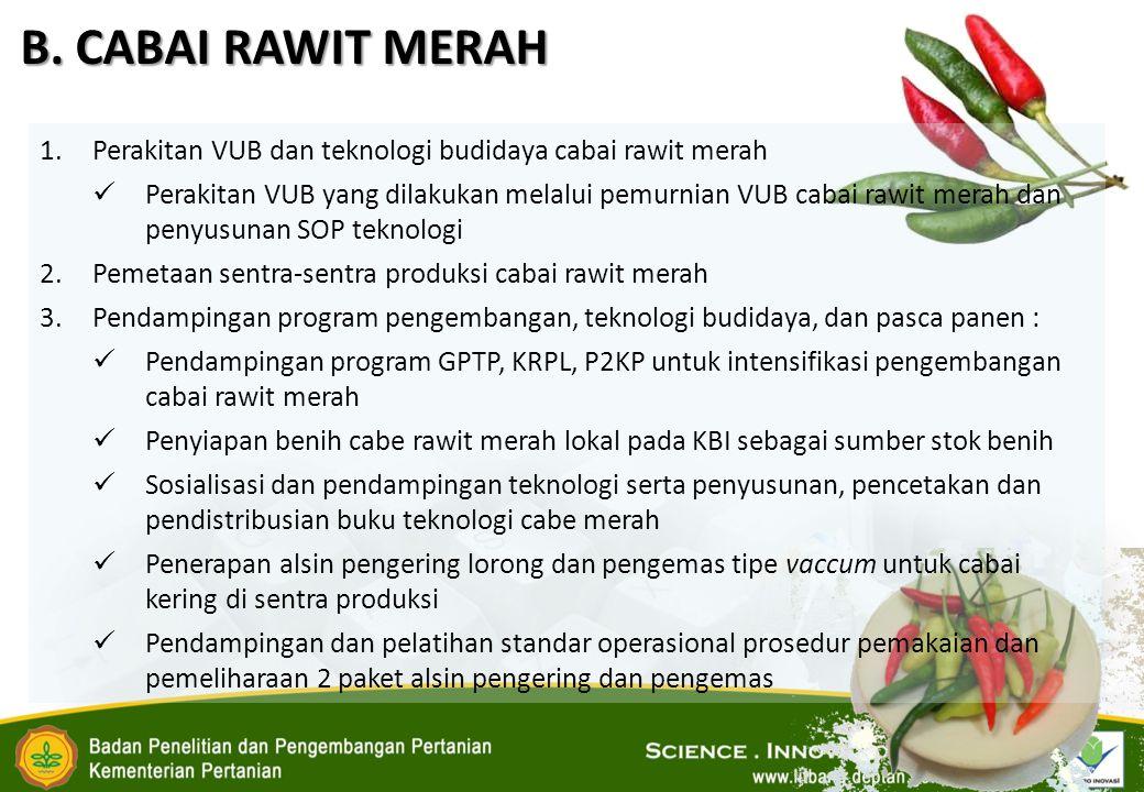 B. CABAI RAWIT MERAH 1.Perakitan VUB dan teknologi budidaya cabai rawit merah Perakitan VUB yang dilakukan melalui pemurnian VUB cabai rawit merah dan