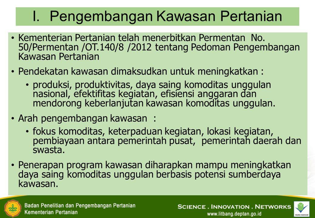 I.Pengembangan Kawasan Pertanian Kementerian Pertanian telah menerbitkan Permentan No.