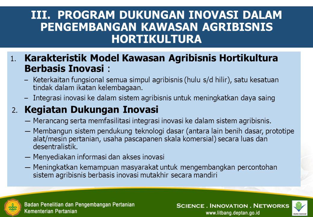 III.PROGRAM DUKUNGAN INOVASI DALAM PENGEMBANGAN KAWASAN AGRIBISNIS HORTIKULTURA 1.