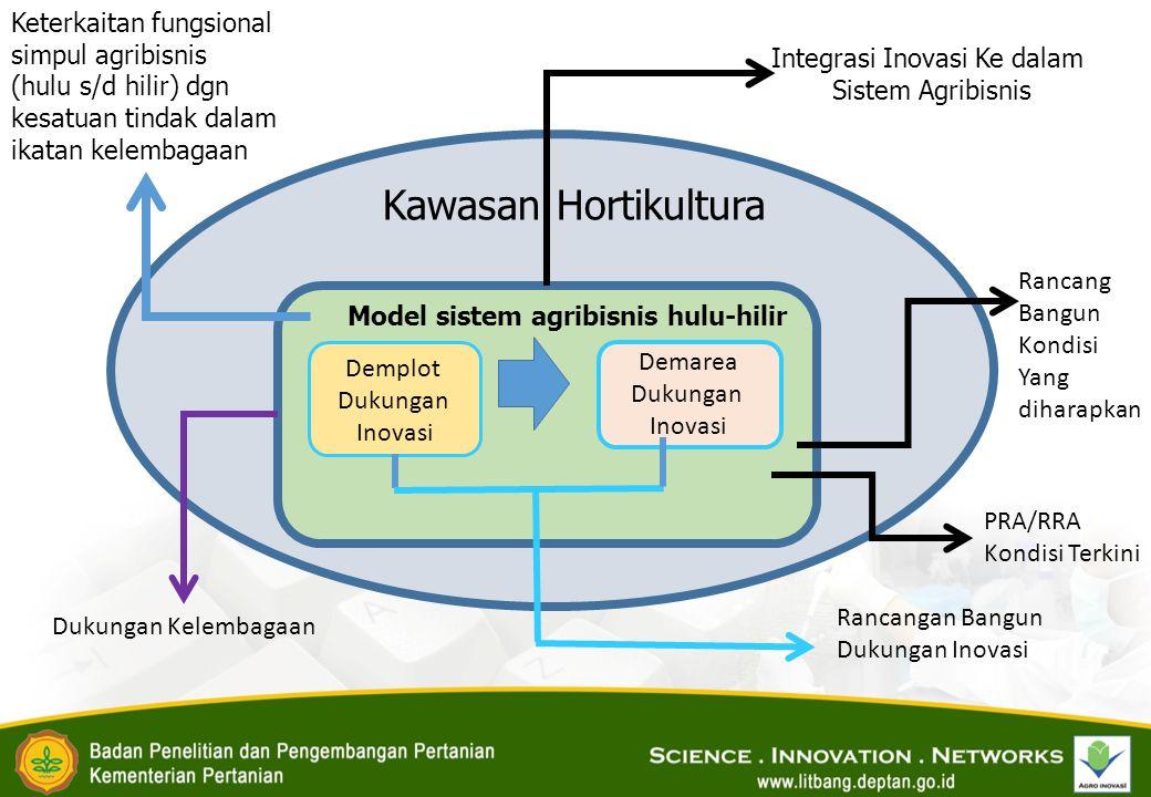 Kawasan Hortikultura Model sistem agribisnis hulu-hilir Demplot Dukungan Inovasi Demarea Dukungan Inovasi Integrasi Inovasi Ke dalam Sistem Agribisnis Keterkaitan fungsional simpul agribisnis (hulu s/d hilir) dgn kesatuan tindak dalam ikatan kelembagaan Rancangan Bangun Dukungan Inovasi Dukungan Kelembagaan PRA/RRA Kondisi Terkini Rancang Bangun Kondisi Yang diharapkan