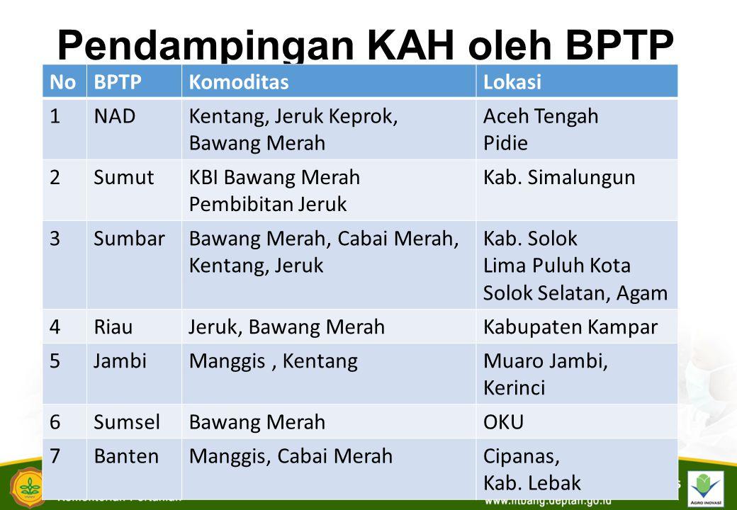Pendampingan KAH oleh BPTP NoBPTPKomoditasLokasi 1NADKentang, Jeruk Keprok, Bawang Merah Aceh Tengah Pidie 2SumutKBI Bawang Merah Pembibitan Jeruk Kab.