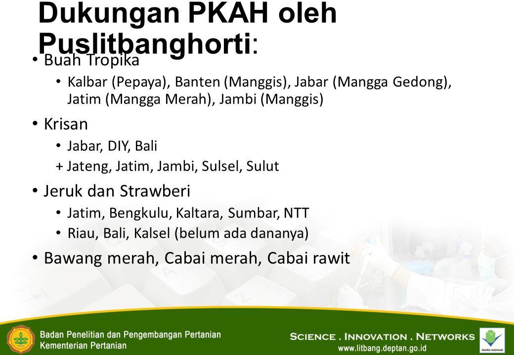 Dukungan PKAH oleh Puslitbanghorti: Buah Tropika Kalbar (Pepaya), Banten (Manggis), Jabar (Mangga Gedong), Jatim (Mangga Merah), Jambi (Manggis) Krisan Jabar, DIY, Bali + Jateng, Jatim, Jambi, Sulsel, Sulut Jeruk dan Strawberi Jatim, Bengkulu, Kaltara, Sumbar, NTT Riau, Bali, Kalsel (belum ada dananya) Bawang merah, Cabai merah, Cabai rawit