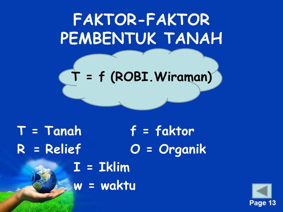 Free Powerpoint Templates Page 13 FAKTOR-FAKTOR PEMBENTUK TANAH T = f (ROBI.Wiraman) T = Tanahf = faktor R =ReliefO = Organik I = Iklim w = waktu