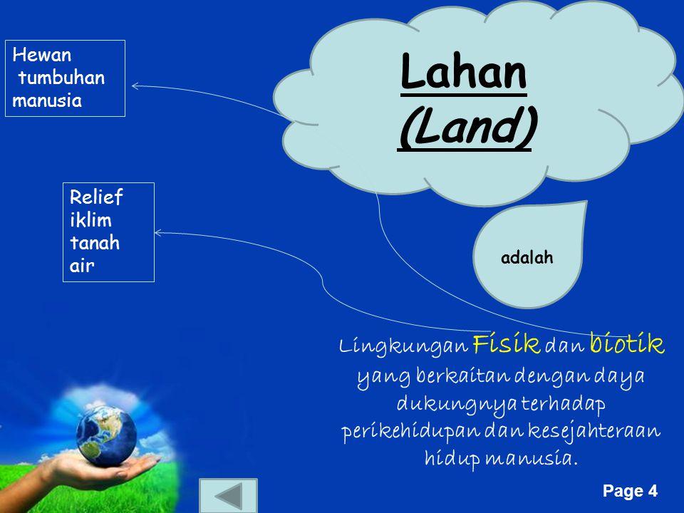 Free Powerpoint Templates Page 4 Lahan (Land) adalah Lingkungan Fisik dan biotik yang berkaitan dengan daya dukungnya terhadap perikehidupan dan kesejahteraan hidup manusia.