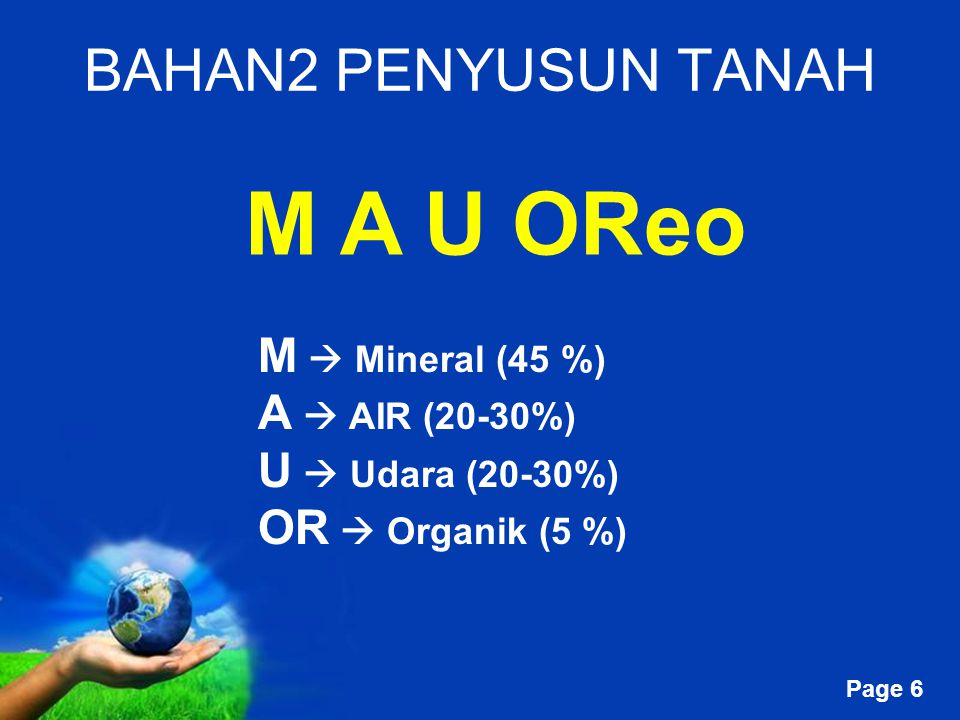 Free Powerpoint Templates Page 6 BAHAN2 PENYUSUN TANAH M A U OReo M  Mineral (45 %) A  AIR (20-30%) U  Udara (20-30%) OR  Organik (5 %)