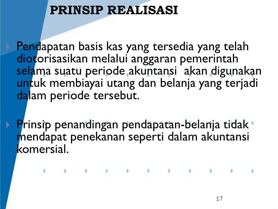 PRINSIP REALISASI  Pendapatan basis kas yang tersedia yang telah diotorisasikan melalui anggaran pemerintah selama suatu periode akuntansi akan digun