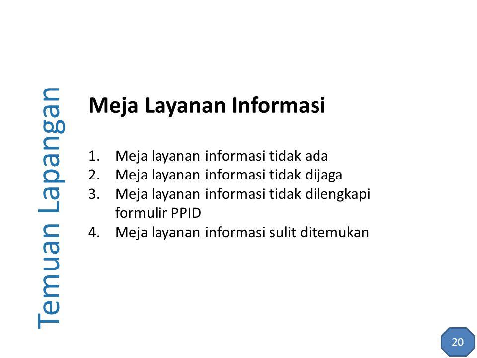 Temuan Lapangan 1.Meja layanan informasi tidak ada 2.Meja layanan informasi tidak dijaga 3.Meja layanan informasi tidak dilengkapi formulir PPID 4.Mej