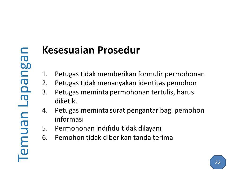 Temuan Lapangan 1.Petugas tidak memberikan formulir permohonan 2.Petugas tidak menanyakan identitas pemohon 3.Petugas meminta permohonan tertulis, har