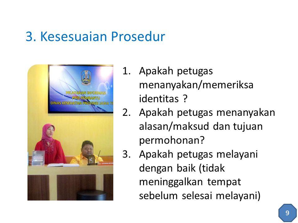 1.Apakah petugas menguasai permasalahan yang ditanyakan Pemohon Informasi.