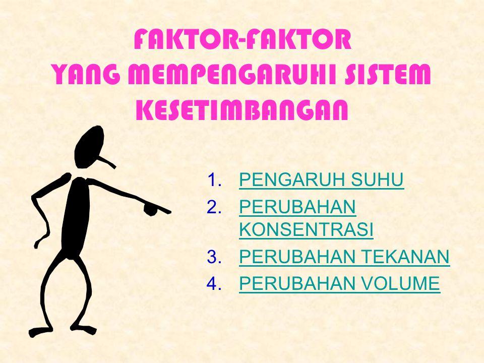 FAKTOR-FAKTOR YANG MEMPENGARUHI SISTEM KESETIMBANGAN 1.PENGARUH SUHUPENGARUH SUHU 2.PERUBAHAN KONSENTRASIPERUBAHAN KONSENTRASI 3.PERUBAHAN TEKANANPERU