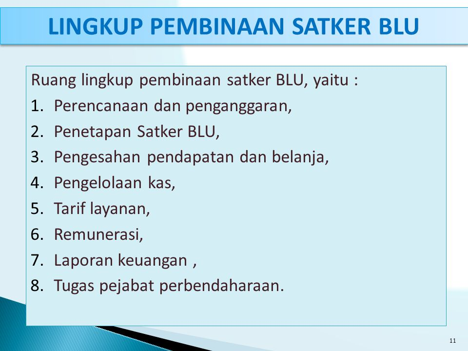 Ruang lingkup pembinaan satker BLU, yaitu : 1.Perencanaan dan penganggaran, 2.Penetapan Satker BLU, 3.Pengesahan pendapatan dan belanja, 4.Pengelolaan