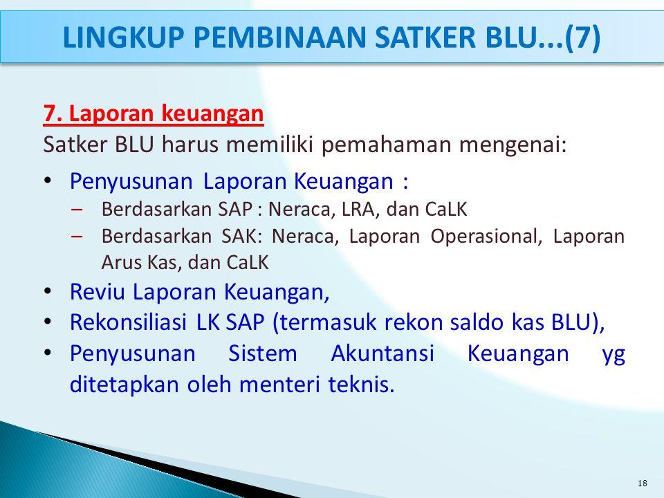 7. Laporan keuangan Satker BLU harus memiliki pemahaman mengenai: Penyusunan Laporan Keuangan : –Berdasarkan SAP : Neraca, LRA, dan CaLK –Berdasarkan