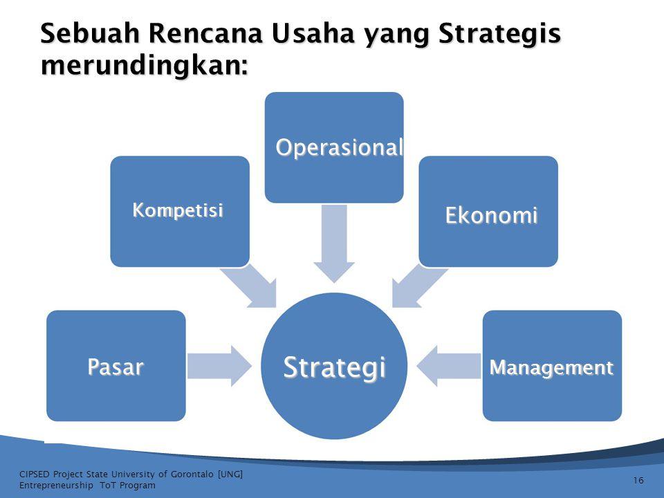 Sebuah Rencana Usaha yang Strategis merundingkan: CIPSED Project State University of Gorontalo [UNG] Entrepreneurship ToT Program 16 Operasional Ekono