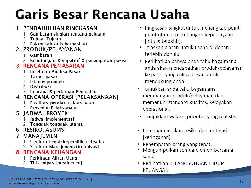 Garis Besar Rencana Usaha 18 CIPSED Project State University of Gorontalo [UNG] Entrepreneurship ToT Program Ringkasan singkat untuk menangkap point p