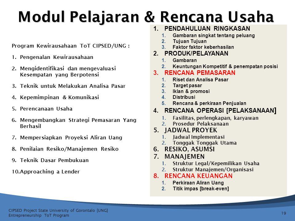 Modul Pelajaran & Rencana Usaha 19 CIPSED Project State University of Gorontalo [UNG] Entrepreneurship ToT Program 1.PENDAHULUAN RINGKASAN 1.Gambaran