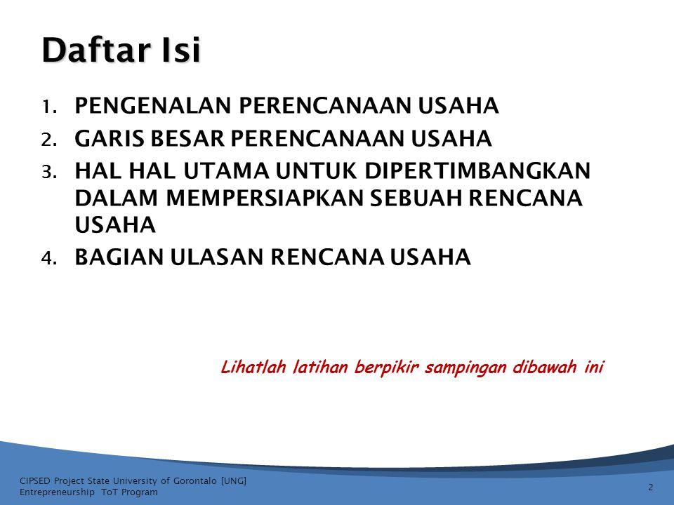 CIPSED Project State University of Gorontalo [UNG] Entrepreneurship ToT Program 3