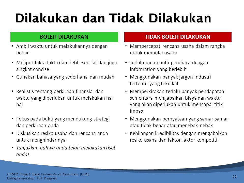 Dilakukan dan Tidak Dilakukan CIPSED Project State University of Gorontalo [UNG] Entrepreneurship ToT Program 25 BOLEH DILAKUKANTIDAK BOLEH DILAKUKAN