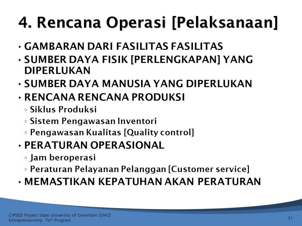4. Rencana Operasi [Pelaksanaan] GAMBARAN DARI FASILITAS FASILITAS SUMBER DAYA FISIK [PERLENGKAPAN] YANG DIPERLUKAN SUMBER DAYA MANUSIA YANG DIPERLUKA