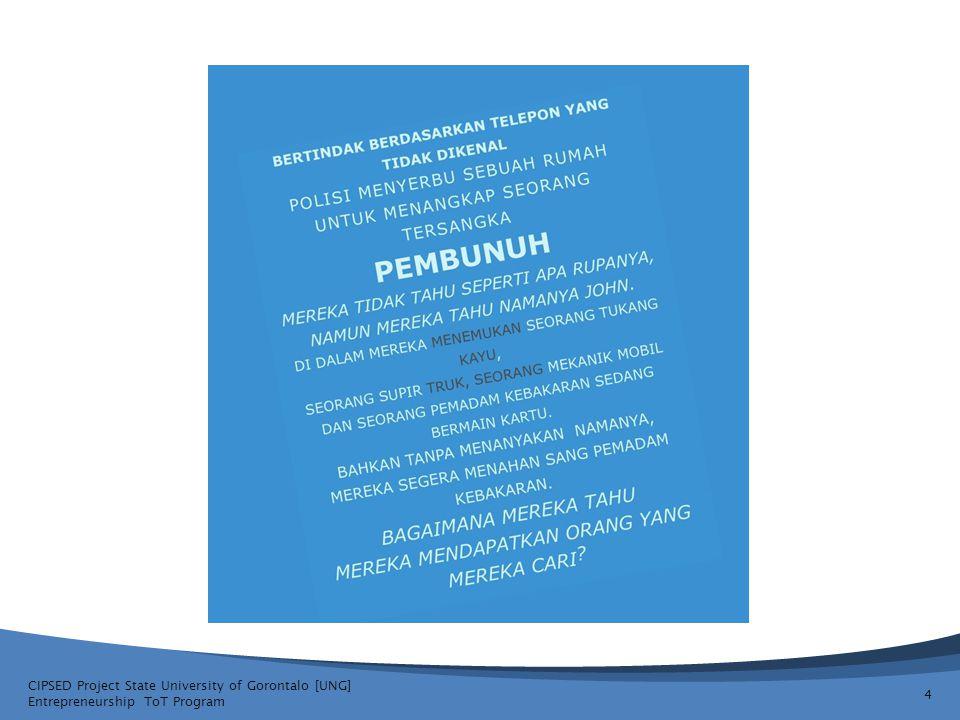 CIPSED Project State University of Gorontalo [UNG] Entrepreneurship ToT Program 5