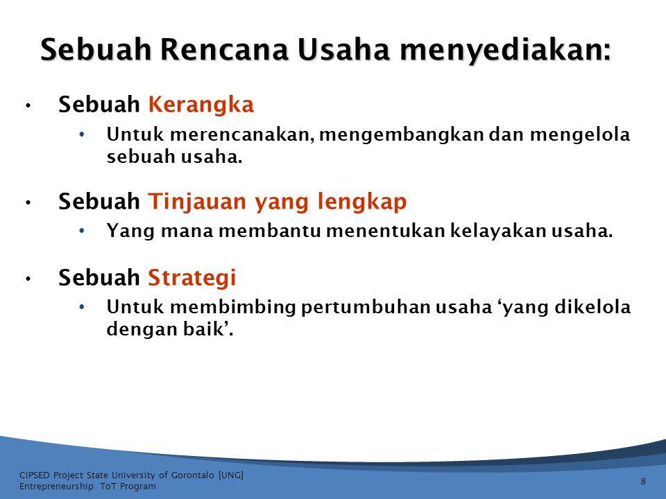 Modul Pelajaran & Rencana Usaha 19 CIPSED Project State University of Gorontalo [UNG] Entrepreneurship ToT Program 1.PENDAHULUAN RINGKASAN 1.Gambaran singkat tentang peluang 2.Tujuan Tujuan 3.Faktor faktor keberhasilan 2.PRODUK/PELAYANAN 1.Gambaran 2.Keuntungan Kompetitif & penempatan posisi 3.RENCANA PEMASARAN 1.Riset dan Analisa Pasar 2.Target pasar 3.Iklan & promosi 4.Distribusi 5.Rencana & perkiraan Penjualan 4.RENCANA OPERASI [PELAKSANAAN ] 1.Fasilitas, perlengkapan, karyawan 2.Prosedur Pelaksanaan 5.JADWAL PROYEK 1.Jadwal Implementasi 2.Tonggak Tonggak Utama 6.RESIKO, ASUMSI 7.MANAJEMEN 1.Struktur Legal/Kepemilikan Usaha 2.Struktur Manajemen/Organisasi 8.RENCANA KEUANGAN 1.Perkiraan Aliran Uang 2.Titik impas [break-even] Program Kewirausahaan ToT CIPSED/UNG : 1.Pengenalan Kewirausahaan 2.Mengidentifikasi dan mengevaluasi Kesempatan yang Berpotensi 3.Teknik untuk Melakukan Analisa Pasar 4.Kepemimpinan & Komunikasi 5.Perencanaan Usaha 6.Mengembangkan Strategi Pemasaran Yang Berhasil 7.Mempersiapkan Proyeksi Aliran Uang 8.Penilaian Resiko/Manajemen Resiko 9.Teknik Dasar Pembukuan 10.Approaching a Lender