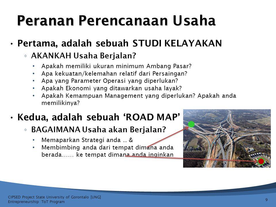 Kedua, adalah sebuah 'ROAD MAP' ◦ BAGAIMANA Usaha akan Berjalan? Memaparkan Strategi anda.. & Membimbing anda dari tempat dimana anda berada…… ke temp