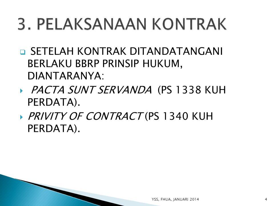  SETELAH KONTRAK DITANDATANGANI BERLAKU BBRP PRINSIP HUKUM, DIANTARANYA:  PACTA SUNT SERVANDA (PS 1338 KUH PERDATA).  PRIVITY OF CONTRACT (PS 1340