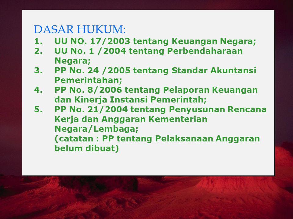 DASAR HUKUM: 1. UU NO. 17/2003 tentang Keuangan Negara; 2. UU No. 1 /2004 tentang Perbendaharaan Negara; 3. PP No. 24 /2005 tentang Standar Akuntansi
