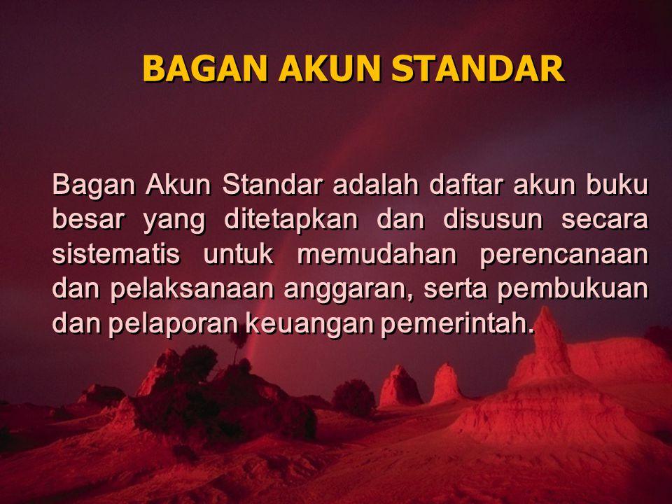 BAGAN AKUN STANDAR Bagan Akun Standar adalah daftar akun buku besar yang ditetapkan dan disusun secara sistematis untuk memudahan perencanaan dan pela