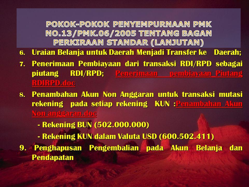 6. Uraian Belanja untuk Daerah Menjadi Transfer ke Daerah; 7. Penerimaan Pembiayaan dari transaksi RDI/RPD sebagai piutang RDI/RPD; Penerimaan pembiay