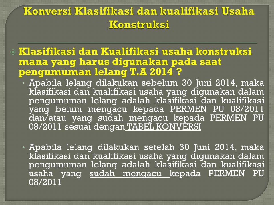 PEMBERLAKUKAN KLASIFIKASI DAN KUALIFIKASI USAHA SBU/SKA/SKT DALAM PENGADAAN JASA KONSTRUKSI T.A 2014 KONTRAK → PERMEN 08 30 JUNI 2014 31 MARET 2014 PRA KONTRAK (Kla & Kual LAMA) PRA KONTRAK & KONTRAK PERMEN 08