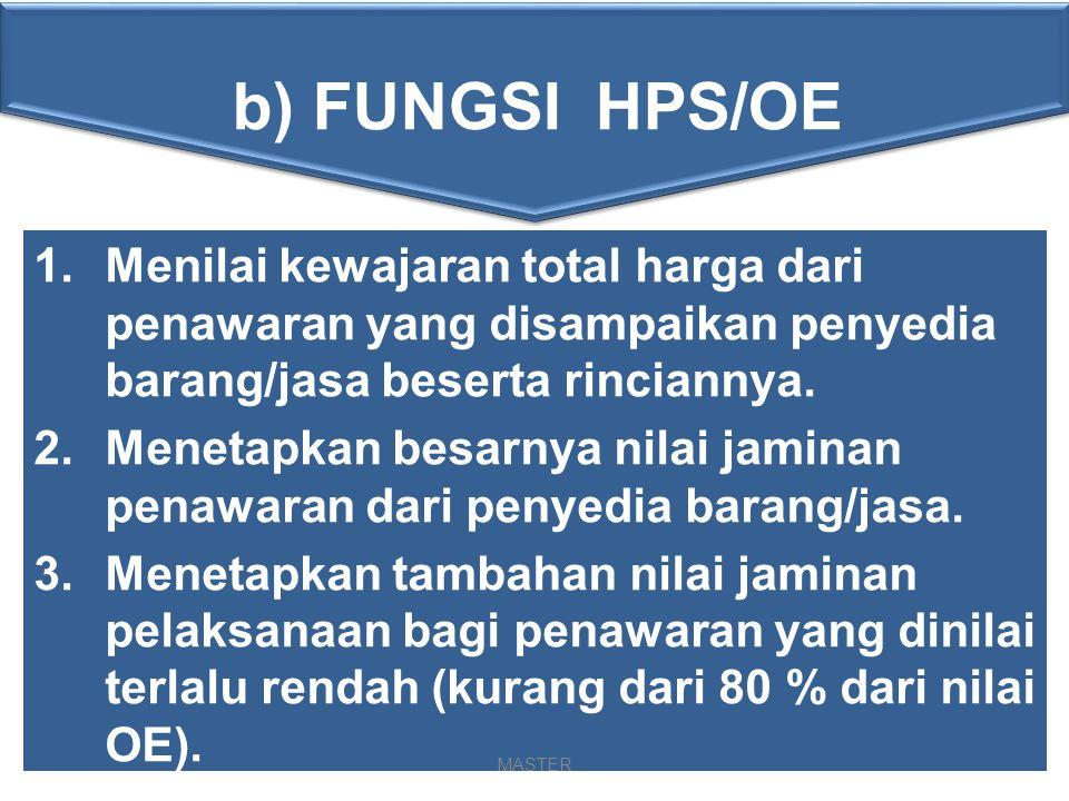 1)Setiap pengadaan wajib dibuat HPS/OE 2)HPS, disusun oleh panitia/pejabat pengadaan, disahkan pengguna barang/jasa 3)Nilai total HPS tidak bersifat rahasia sebagai upaya transparansi dan menjadi bahan pertimbangan penyedia dalam memperkirakan keuntungan yang akan diperoleh 4)Rincian HPS rahasia, sebagai alat negosiasi dan untuk mencegah keseragaman dalam metoda pelaksanaan pekerjaan 5)Ketentuan HPS pada Perpres-54 Th 2010 Pasal 11 dan Pada Lampiran II/III/IV/V butir A,3 PENYUSUNAN HPS/OE 4.HAL-HAL YANG PERLU DIPERHATIKAN DALAM PENYUSUNAN HPS/OE a) Ketentuan Umum