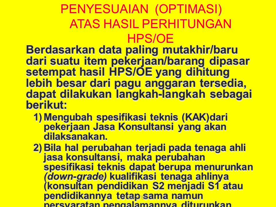 SEBAGAI REFERENSI Biaya Langsung Personil (BLP) berdasarkan SEB Bappenas dan Departemen Keuangan No 604/D.VI/02/1998 : SE-35/A/21/0298