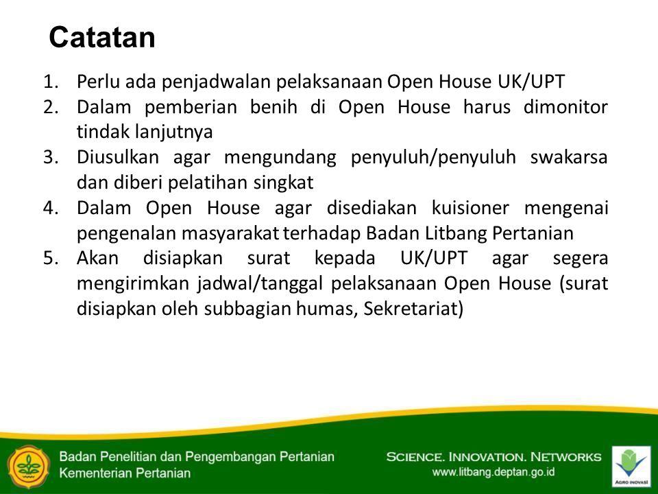 1.Perlu ada penjadwalan pelaksanaan Open House UK/UPT 2.Dalam pemberian benih di Open House harus dimonitor tindak lanjutnya 3.Diusulkan agar mengunda