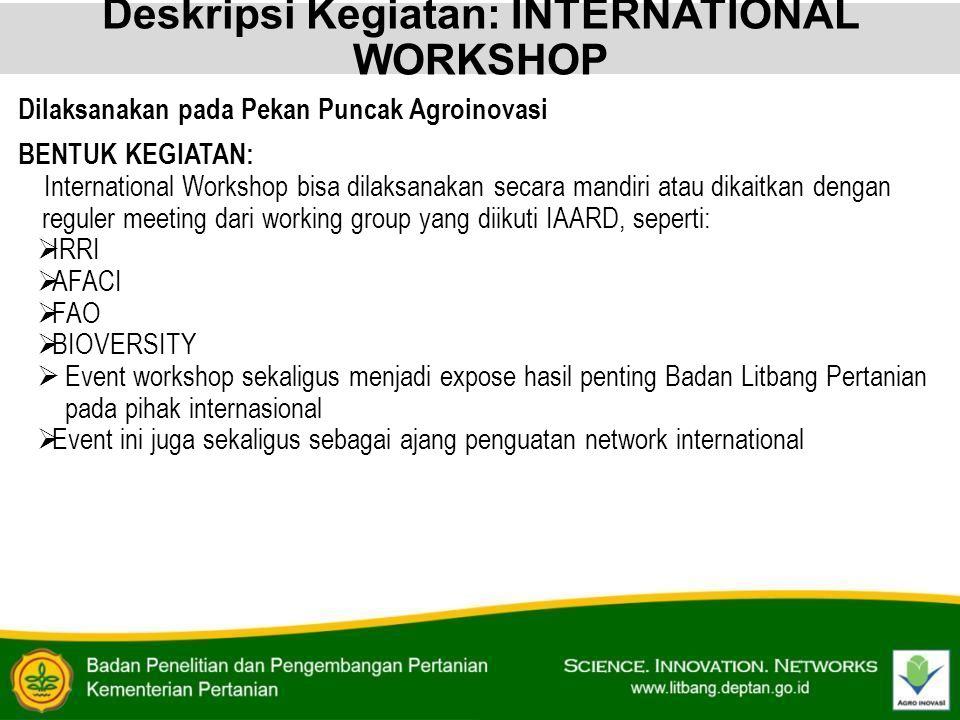 Deskripsi Kegiatan: INTERNATIONAL WORKSHOP Dilaksanakan pada Pekan Puncak Agroinovasi BENTUK KEGIATAN: International Workshop bisa dilaksanakan secara
