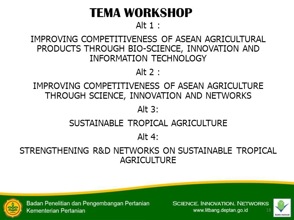 Alt 1 : IMPROVING COMPETITIVENESS OF ASEAN AGRICULTURAL PRODUCTS THROUGH BIO-SCIENCE, INNOVATION AND INFORMATION TECHNOLOGY Alt 2 : IMPROVING COMPETIT