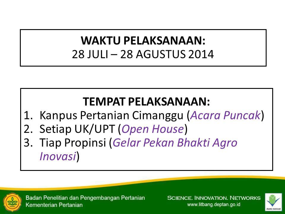 WAKTU PELAKSANAAN: 28 JULI – 28 AGUSTUS 2014 TEMPAT PELAKSANAAN: 1.Kanpus Pertanian Cimanggu (Acara Puncak) 2.Setiap UK/UPT (Open House) 3.Tiap Propin