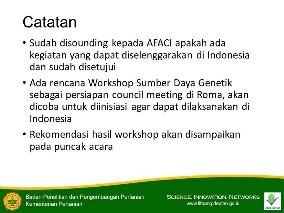 Catatan Sudah disounding kepada AFACI apakah ada kegiatan yang dapat diselenggarakan di Indonesia dan sudah disetujui Ada rencana Workshop Sumber Daya