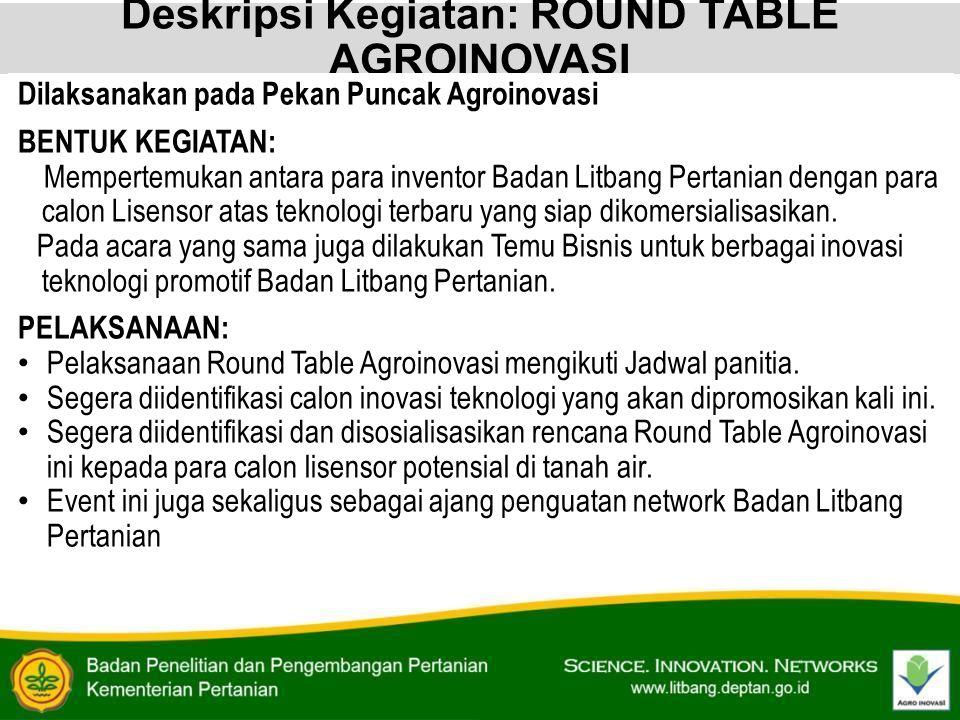 Deskripsi Kegiatan: ROUND TABLE AGROINOVASI Dilaksanakan pada Pekan Puncak Agroinovasi BENTUK KEGIATAN: Mempertemukan antara para inventor Badan Litba