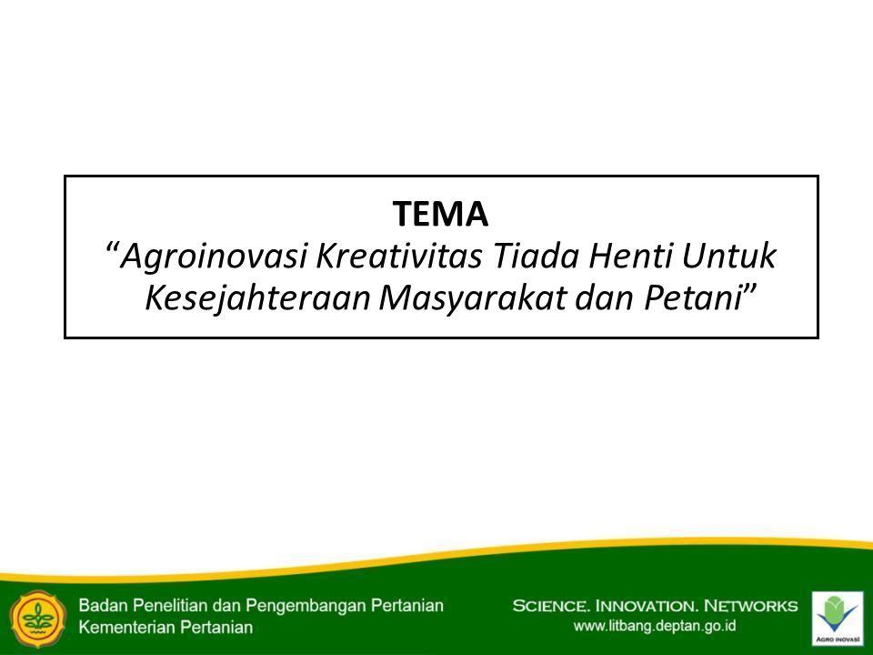 "TEMA ""Agroinovasi Kreativitas Tiada Henti Untuk Kesejahteraan Masyarakat dan Petani"""