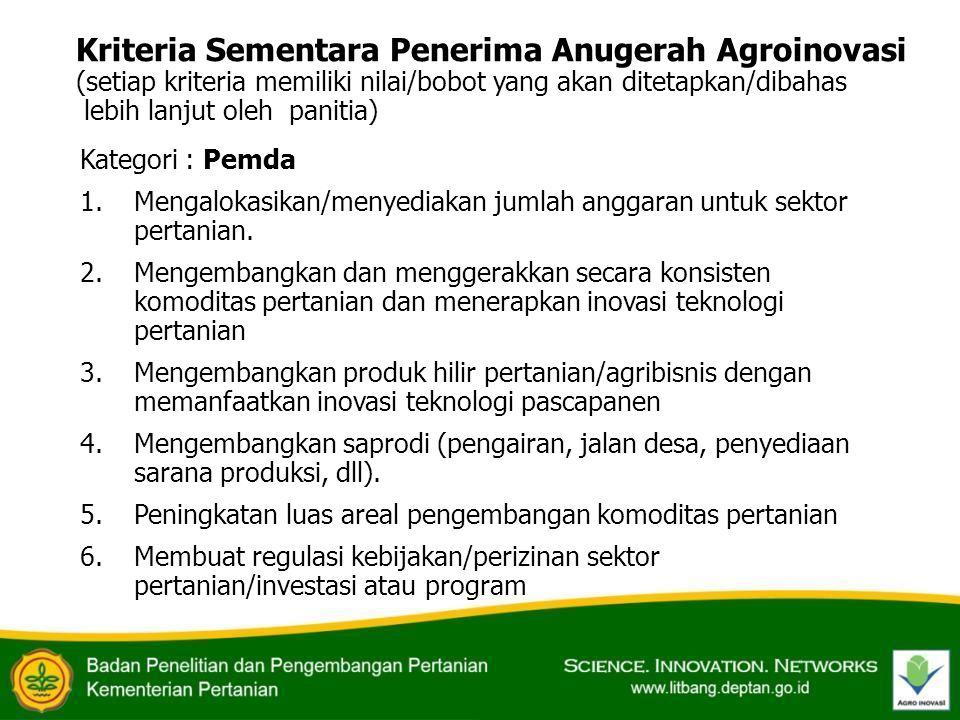 Kriteria Sementara Penerima Anugerah Agroinovasi (setiap kriteria memiliki nilai/bobot yang akan ditetapkan/dibahas lebih lanjut oleh panitia) Kategor