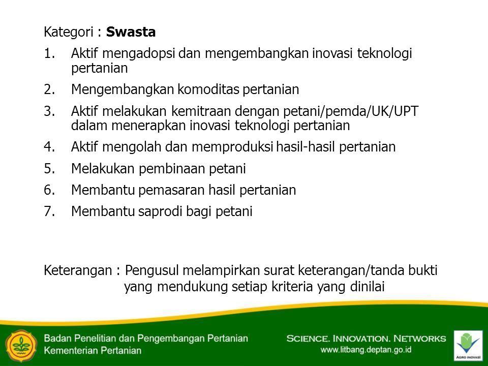 Kategori : Swasta 1.Aktif mengadopsi dan mengembangkan inovasi teknologi pertanian 2.Mengembangkan komoditas pertanian 3.Aktif melakukan kemitraan den