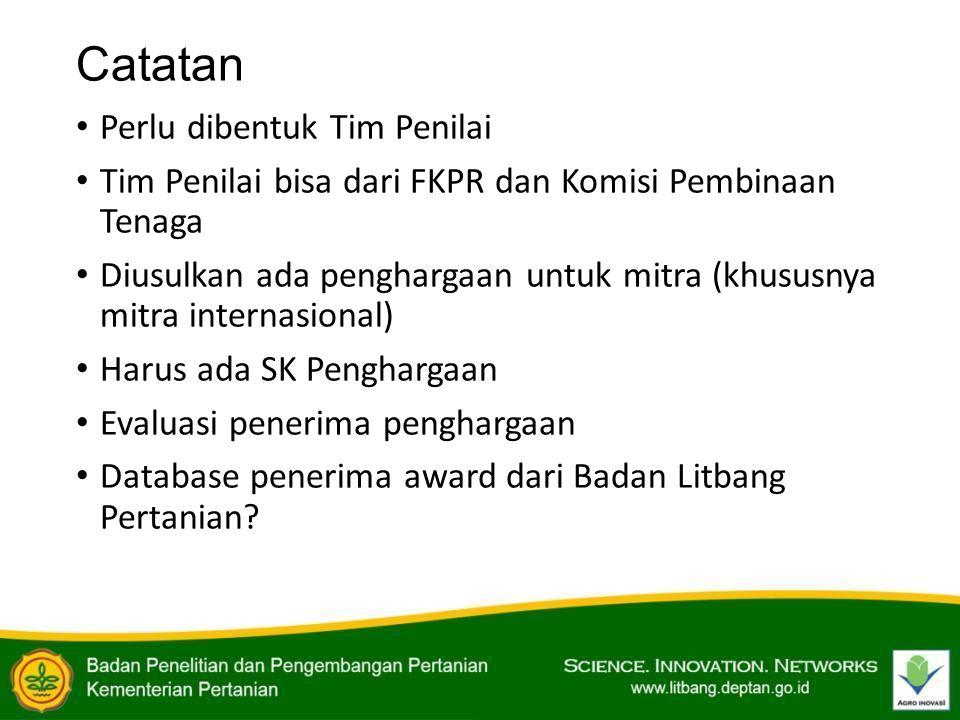 Catatan Perlu dibentuk Tim Penilai Tim Penilai bisa dari FKPR dan Komisi Pembinaan Tenaga Diusulkan ada penghargaan untuk mitra (khususnya mitra inter