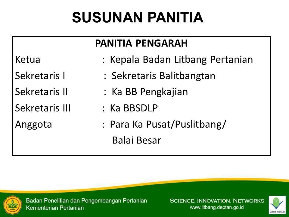 SUSUNAN PANITIA PANITIA PENGARAH Ketua: Kepala Badan Litbang Pertanian Sekretaris I : Sekretaris Balitbangtan Sekretaris II : Ka BB Pengkajian Sekreta